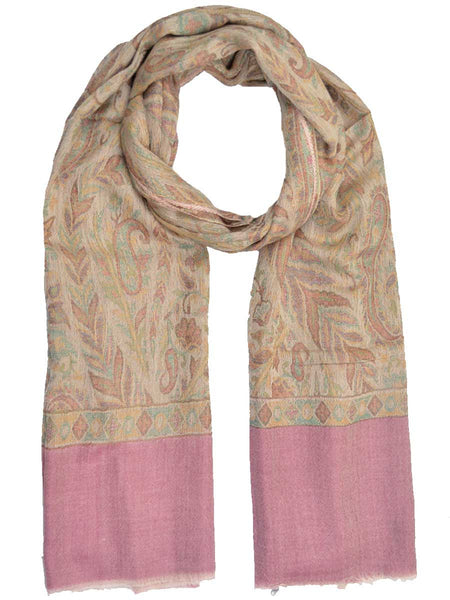 Cashmere Stole In Beige & Pink From Kashmir - OCKHS19NR7