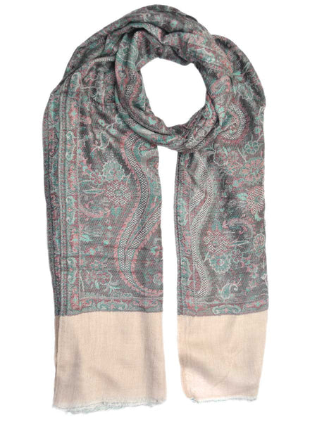 Cashmere Stole In Beige & Black From Kashmir - OCKHS19NR9