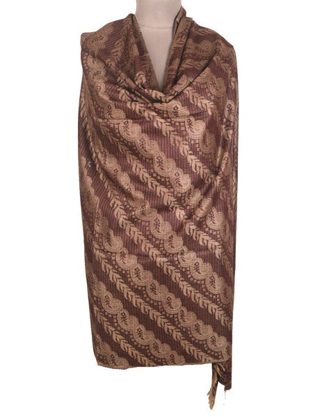 Cashmere Shawl From Kashmir  In Brown - OH-CKHSH29JY2