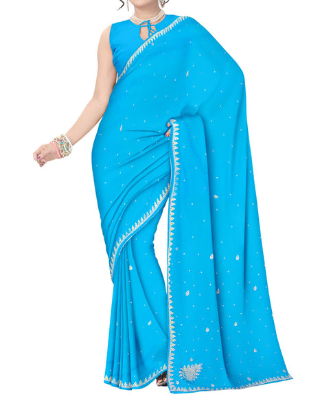 Saree From West Bengal In Sky Blue - PWBSAI11SP3