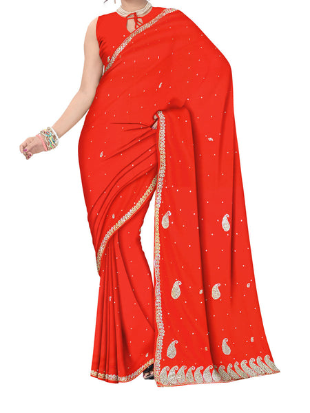 Saree From West Bengal In Red - PWBSAI11SP5