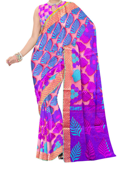 Saree From West Bengal In Dark Violet - PWBSAI11SP8
