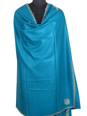 Cashmere Shawl From Kashmir In Palatinate Blue - OH-CKHSH16SP11