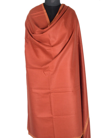 Cashmere Shawl From Kashmir In Sepia Brown - OH-CKHSH16SP16