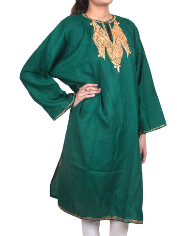 Aari Embroidered Cotton Kaftan From Kashmir In Prussian Green - OH-PKF17D1