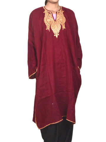 Embroidered Wool Phiran From Kashmir In Maroon  - OH-PKF17D2