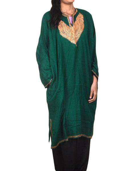 Embroidered Cotton Phiran From Kashmir In persian  Green  - OPKF17D4