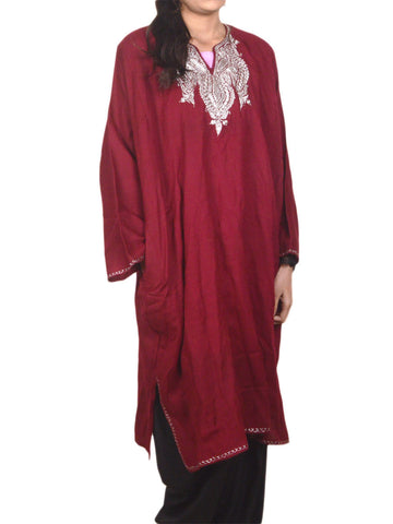 Embroidered Cotton Phiran From Kashmir In Maroon  - OPKF17D5