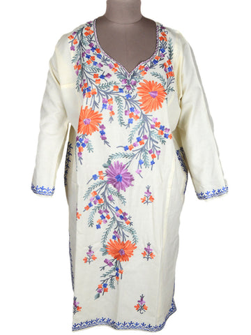 Aari Embroidered Cotton Kaftan From Kashmir In White - OH-PKF1AP5