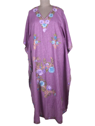 Aari Embroidered Cotton Kaftan From Kashmir In Purple - OH-PKF7MH17