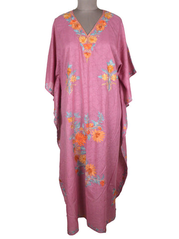 Aari Embroidered Cotton Kaftan From Kashmir In Rose Pink - OH-PKF7MH22