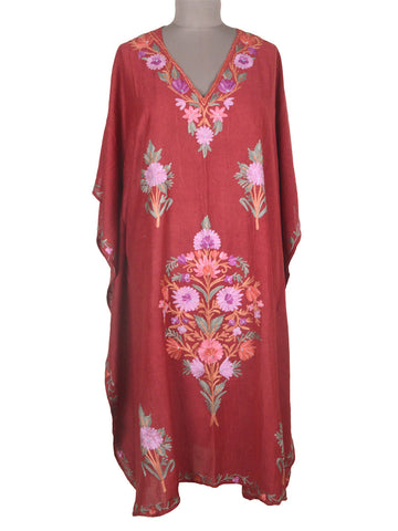Aari Embroidered Cotton Kaftan From Kashmir In Deep Pink - OH-PKF7MH4