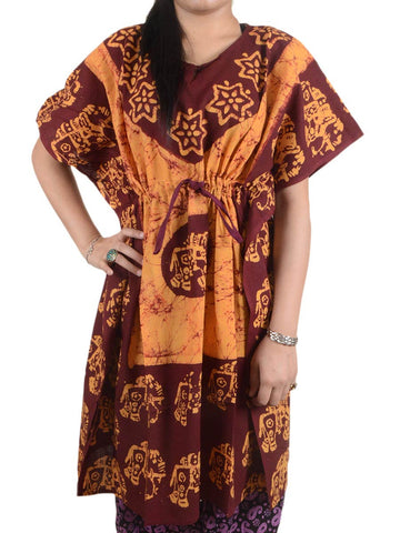 Batik Print Cotton Kaftan From Gujarat In Brown & Orange - OPKSA22AP2