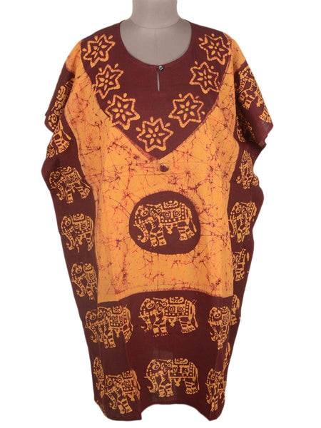 Batik Print Cotton Kaftan From Gujarat In Brown & Pumpkin Orange - OPKSA31MH10