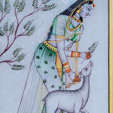Marble Painting Of Ragini With Calf-EC-HJRME5MY28
