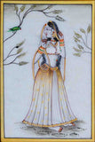 Marble Painting Of Ragini With Parrot-EC-HJRME5MY30
