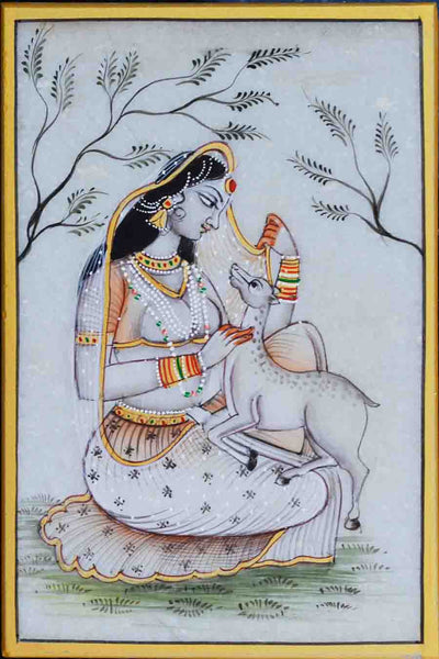 Marble Painting Of Ragini With Calf-EC-HJRME5MY31