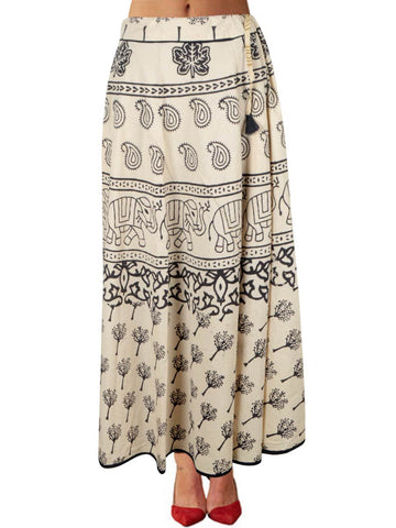 Hand Block Dabu Printed Elastic Skirt From Jodhpur In Beige - PJORSE7MY11