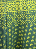 Hand Block Dabu Printed Wrap Around Skirt From Jodhpur In Green - PJORSL10JN16