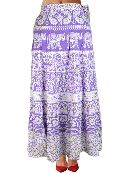 Block Print Jaipuri Wrap Around Skirt In White - PJRSL22FBY136
