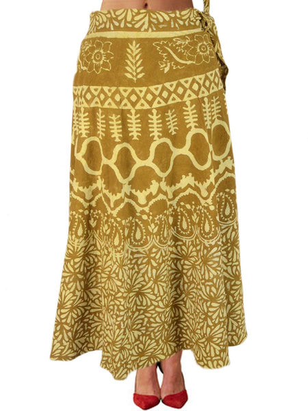 Hand Block Dabu Printed Wrap Around Skirt From Jodhpur In Lime Green - PJORSL25MA22