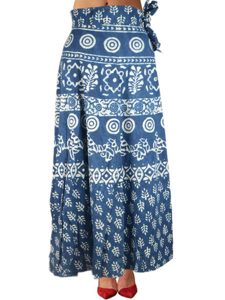 Hand Block Dabu Printed Wrap Around Skirt From Jodhpur In Blue - PJORSL30MH34