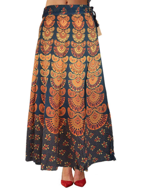 Block Print Jaipuri Wrap Around Skirt In Rusty Blue - PJRSL5FBY63