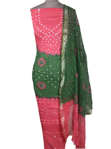 Bandhej Suit From Jodhpur In Pink & Green - PJORSU20FBY5