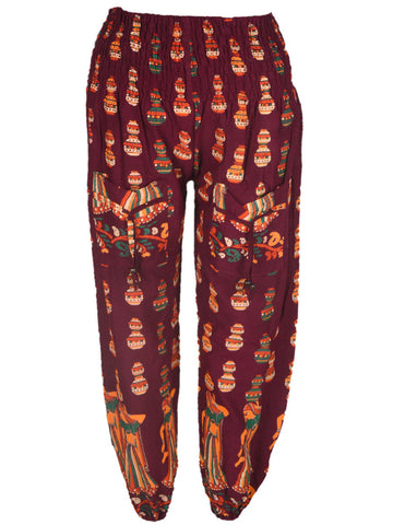 Block Print Pyjama from Jaipur In Maroon - PJRAT31MH9