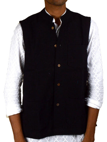Khadi Nehru Jacket From Jaipur In Black - PJRJM14AG1