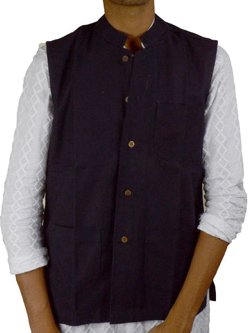 Khadi Nehru Jacket From Jaipur In Persian Blue - PJRJM14AG2