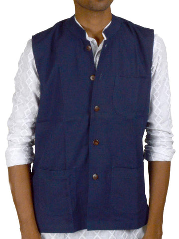 Khadi Nehru Jacket From Jaipur In Blue - PJRJM14AG3