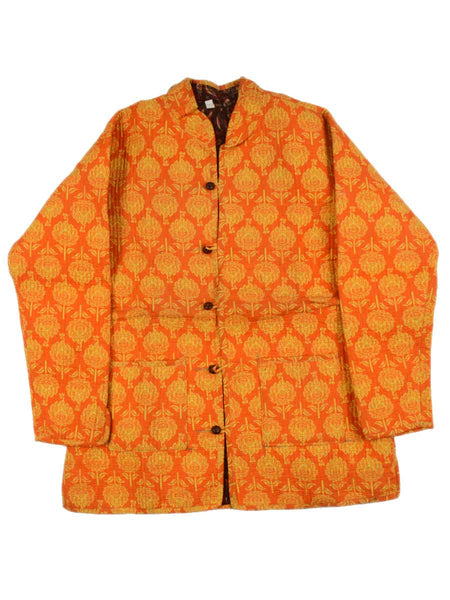 Printed Reversible Jacket From Rajasthan In Orange & Brown  - PJRJW23N12