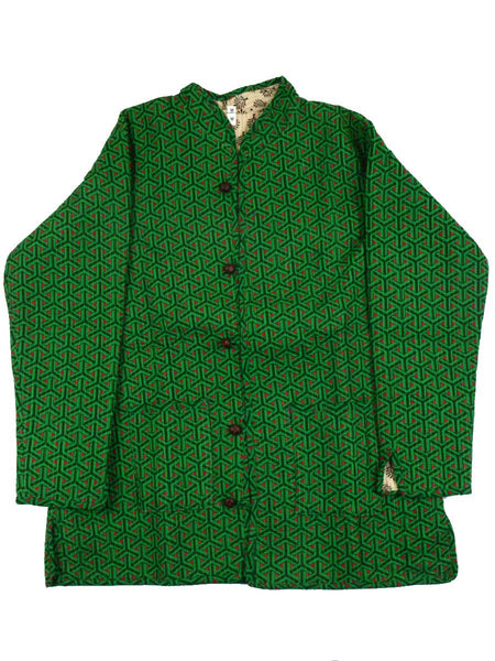 Printed Reversible Jacket From Rajasthan In Green & Cream - PJRJW23N14