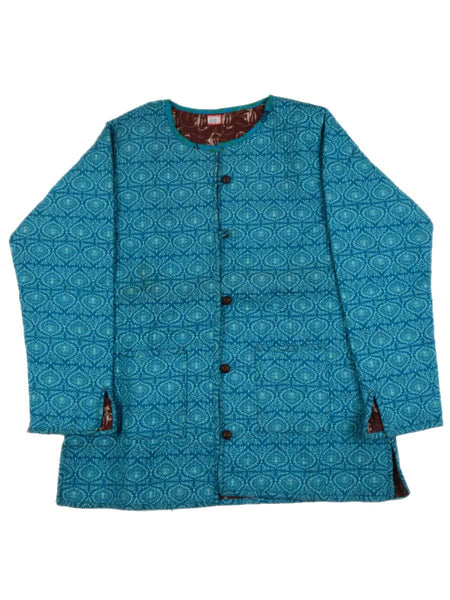 Printed Reversible Jacket From Rajasthan In Sky Blue & Brown - PJRJW23N22