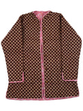 Printed Reversible Jacket From Rajasthan In Pink & Brown - PJRJW23N24A