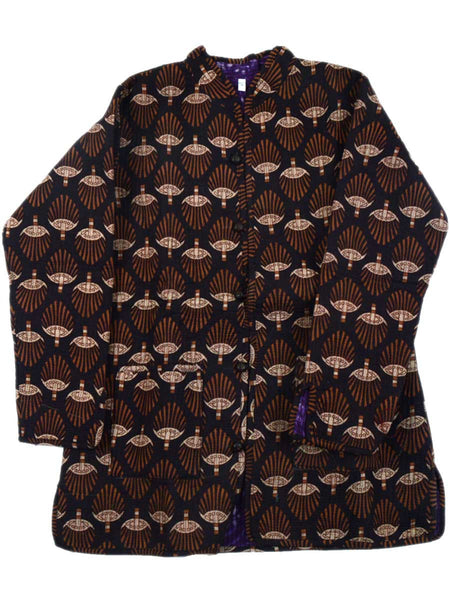 Printed Reversible Jacket From Rajasthan In Multi & Purple - PJRJW23N30