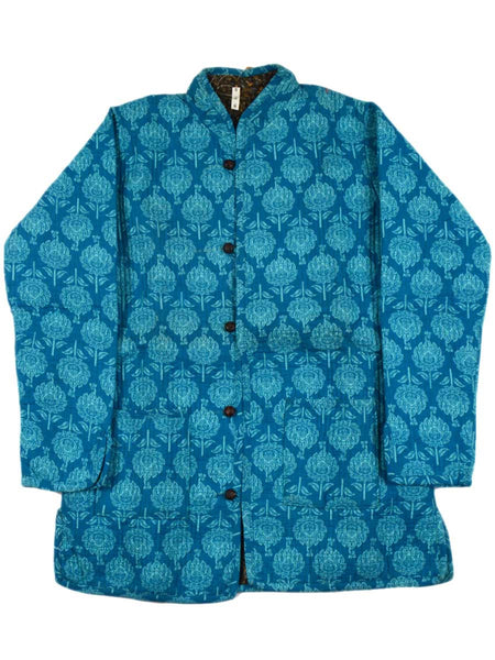 Printed Reversible Jacket From Rajasthan In Sky Blue & Multi - PJRJW23N31