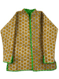 Printed Reversible Jacket From Rajasthan In Green & Yellow - PJRJW23N5