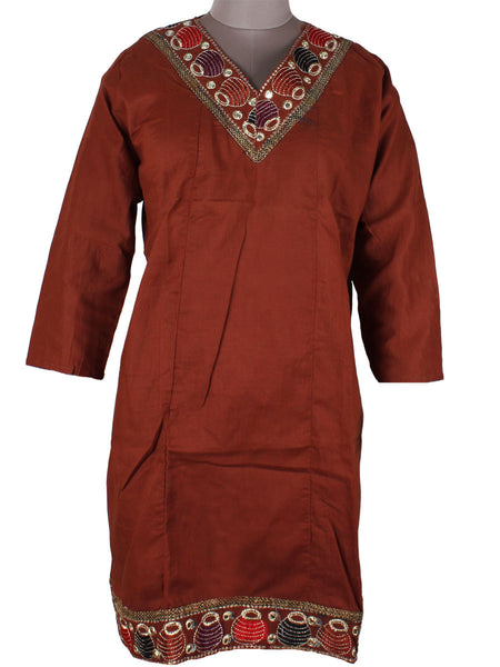 Printed Kurti From Rajasthan In Maroon - PJRKLB19MY12