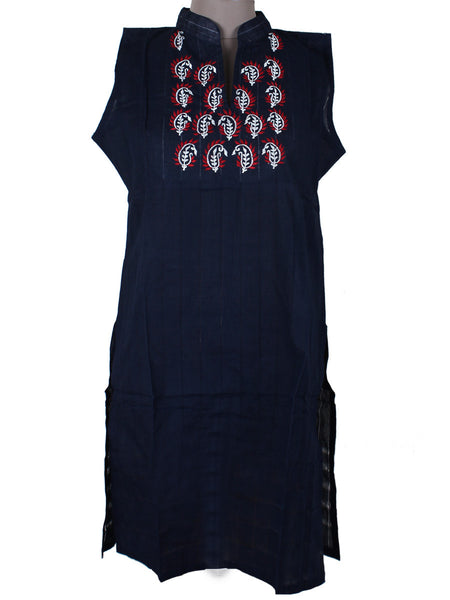 Printed Kurti From Rajasthan In Black - PJRKLB19MY15