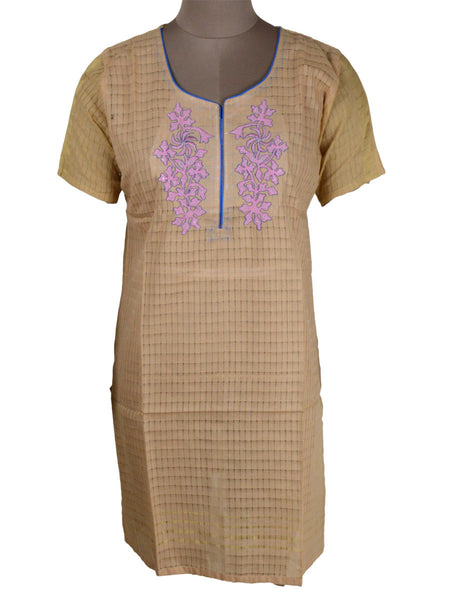 Printed Kurti From Rajasthan In Buff Yellow - PJRKLB19MY45