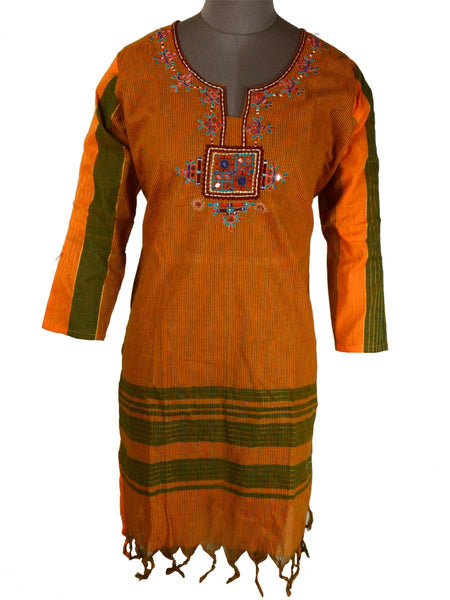 Printed Kurti From Rajasthan In Yellow - PJRKLB19MY37