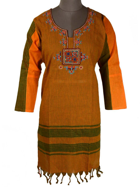 Printed Kurti From Rajasthan In YellowBrown - PJRKLB19MY38