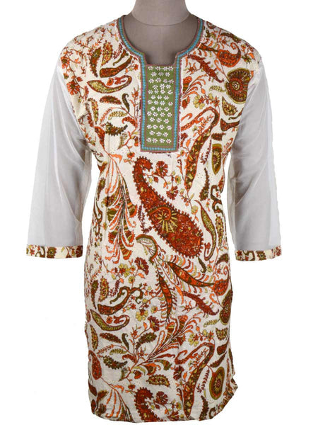 Printed Kurti From Rajasthan In White - PJRKLB19MY42