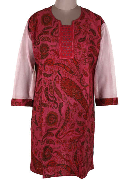 Printed Kurti From Rajasthan In Lava Red - PJRKLB19MY46