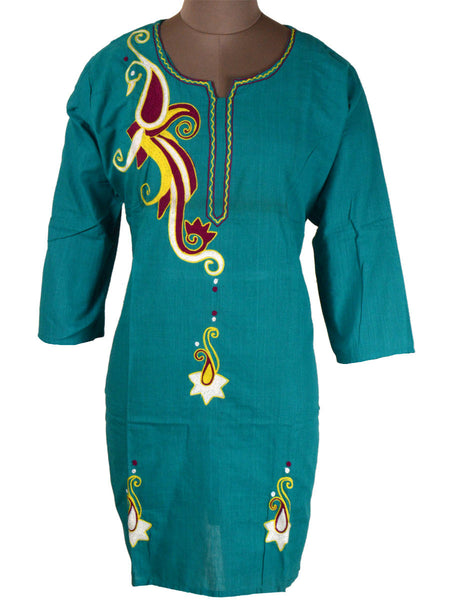 Printed Kurti From Rajasthan In Sky Blue - PJRKLB19MY54