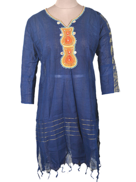 Printed Kurti From Rajasthan In Purple - PJRKLB19MY61