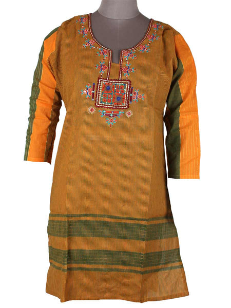 Printed Kurti From Rajasthan In Goldenrod Yellow - PJRKLB19MY63