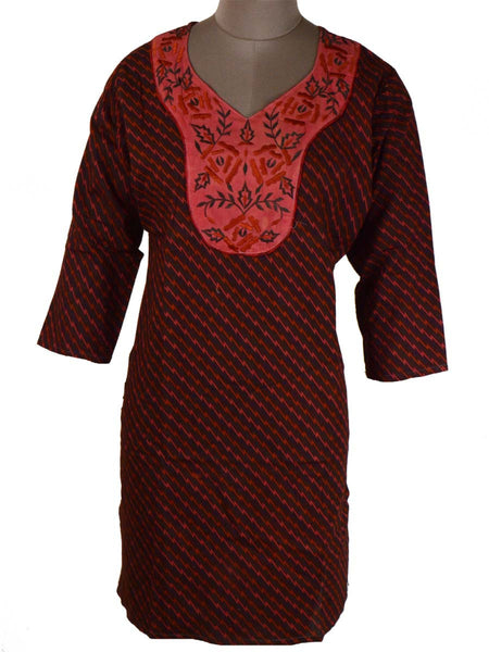 Printed Kurti From Rajasthan In Black & red - PJRKLB19MY70